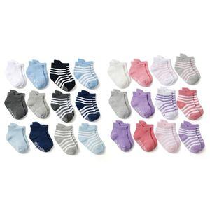 12 пар/уп. спортивные хлопковые носки для малышей удобные нескользящие носки для мальчиков и девочек от 0 до 24 месяцев