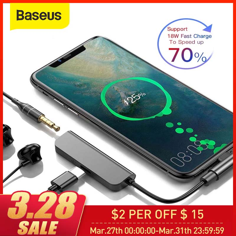 Baseus PD 18W Type C Adapter To 3.5mm Aux Jack Converter For Samsung S9 USB Type C 2 In 1 Charge Earphone Mobile Phone Adapter