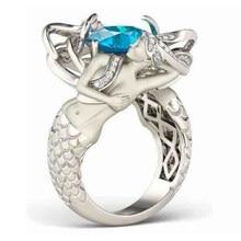 2019 najnowszy moda 7 kolory syrenka pierścień AAAAA CZ Party obrączka pierścienie dla kobiet mężczyzn biżuteria Dropshipping prezent