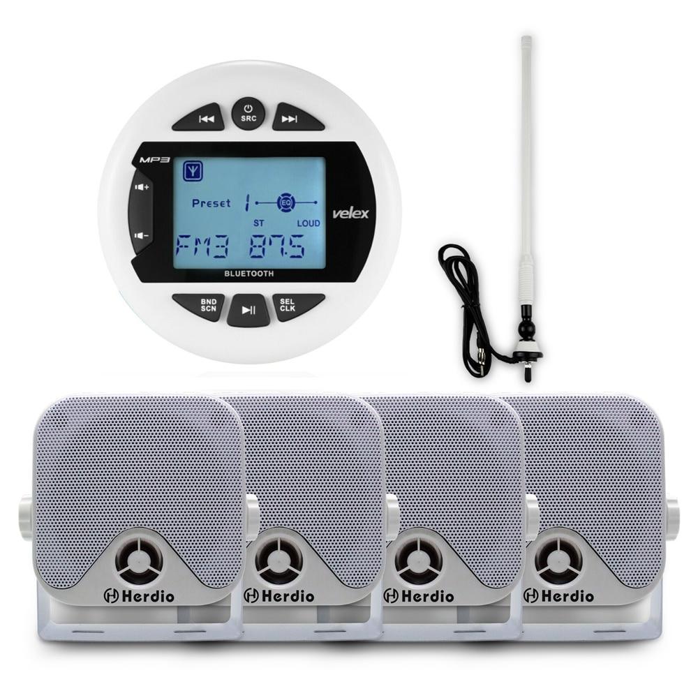 Boat Radio Marine Bluetooth Stereo Digital Media Audio FM AM MP3 Player + 4 inch Marine Waterproof Speakers For Boat + Antenna