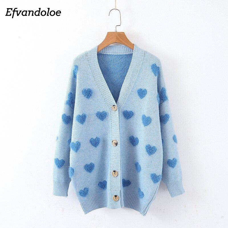Efvandoloe Autumn Women Sweater 2019 Cardigans Heart Decoration V Neck Kardigan Pull Sweter