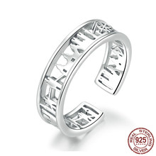 Wide Sketch City Finger Rings for Women Sterling Silver 925 Adjustable Rings Band Fine Jewelry Female Accessoires(China)