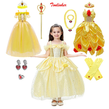 Girls Princess Fancy Dressing Up Belle Costumes Flowers Off Shoulder Dress Up Deluxe Ball Gown Dresses Kids Party Performance
