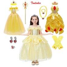 Kız prenses fantezi giyinme Belle kostümleri çiçekler kapalı tek omuzlu elbise Up Deluxe top cüppeli elbiseler çocuklar parti performansı