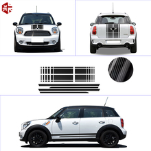 Carbon Vinyl Car Hood Bonnet Engine Rear Body Kit Decal Side Stripe Sticker For MINI Cooper S One JCW Countryman R60 Accessories car styling side racing stripes hood rear engine cover trunk vinyl decal sticker for bmw mini cooper countryman r60 2013 2016