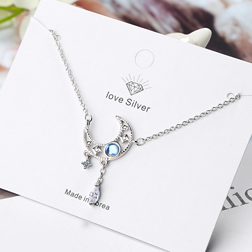 Fashion Choker Necklaces for Women 925 Silver Opal Star Moon Charm Pendants Necklace Wedding dz848