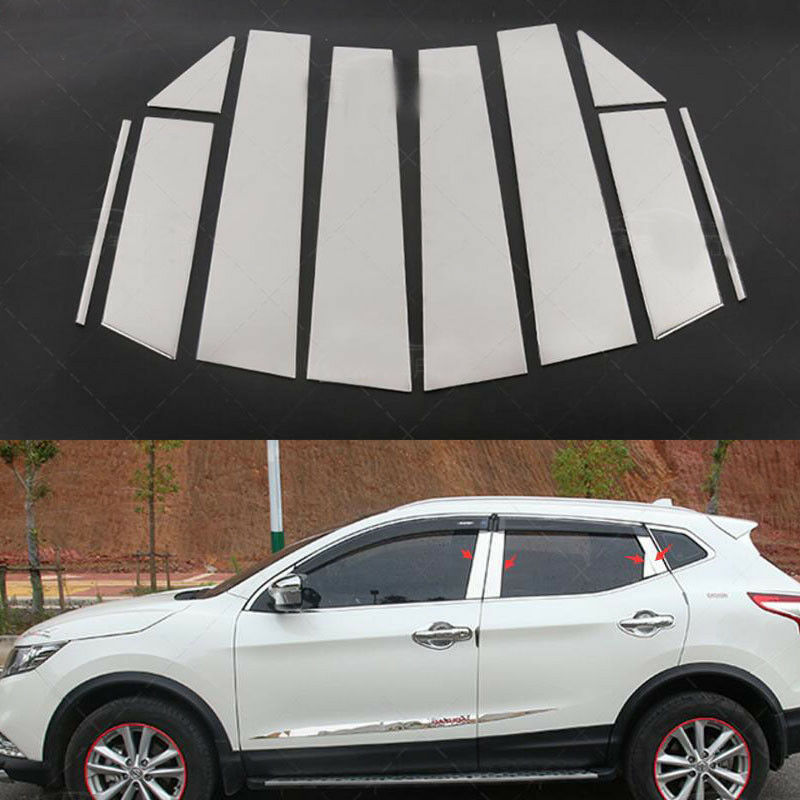 For 2017-2018 Nissan Rogue Sport   Stainless Steel Chrome Pillar Post Trim 10PCS
