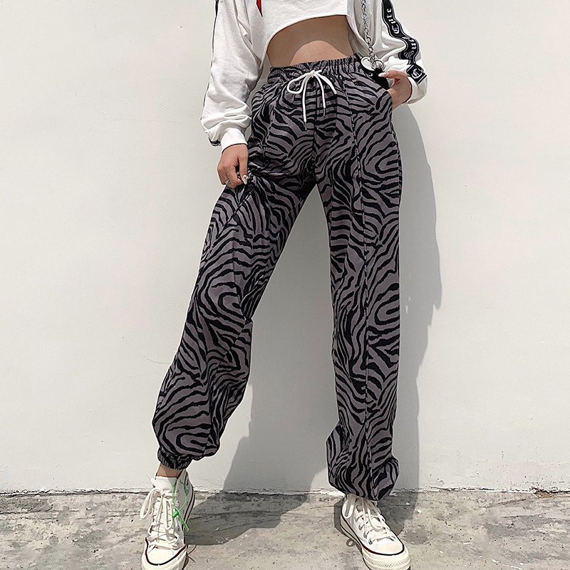 SEASONS Animal Zebra Print Casual Sweatpants Women High Waist Pants Capris Drawstring Baggy Joggers Pocket Trousers ASPA81634