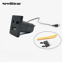 USB/AUX חריץ ממשק כפתור מתג אודיו קלט מיני USB כבל + מתאם עבור פורד פוקוס MK2 2009 2010 2011