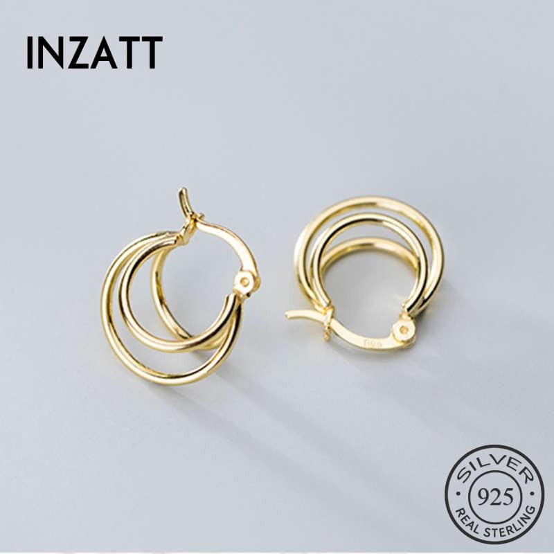 INZATT Real 925 Sterling Silver Round Geometry Hoop Earrings For Fashion Women Birthday Party Cute Shell Fine Jewelry Gift