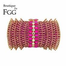 Boutique De FGG Hot Pink Fuchsia Diamond Rhinestones Hollow Out Women Crystal Bags Evening Purse Bridal Wedding Handbag Purse