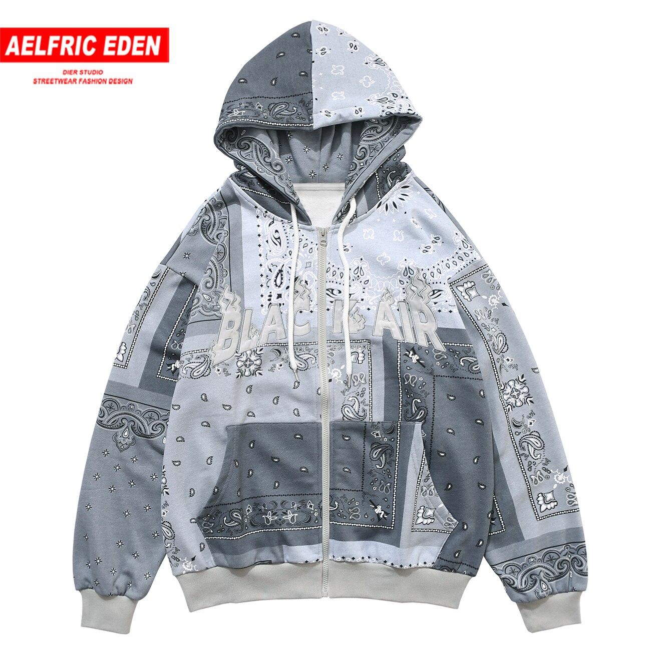 Aelfric Eden Vintage Hip Hop Hoodie Sweatshirt Jacket Streetwear Casual Hoodies Coats Autumn Harajuku Hoodie Mens Open Front Zip