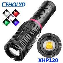 XHP120 16 cœurs Super lumineux 4 couleurs lampe de poche LED de haute qualité USB Rechargeable Powerbank 18650 batterie torche zoomable lanterne
