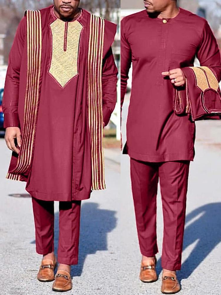 Pants Shirt Robes Dashiki Embroidered Boubou Africain Agbada-Suit Musulman Ensembles