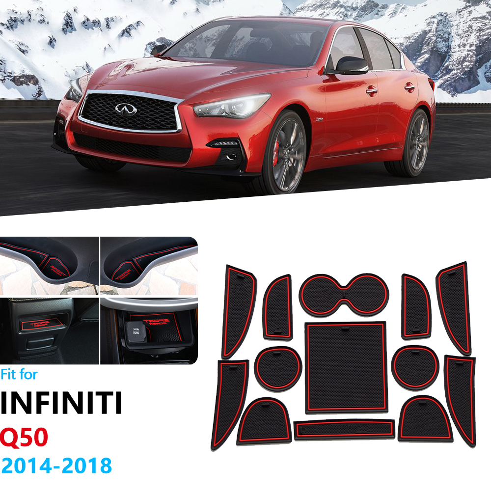 For Infiniti Q50 V37 2014 2015 2016 2017 2018 Anti-Slip Rubber Gate Slot Cup Mat Door Groove Mat Accessories Car Stickers