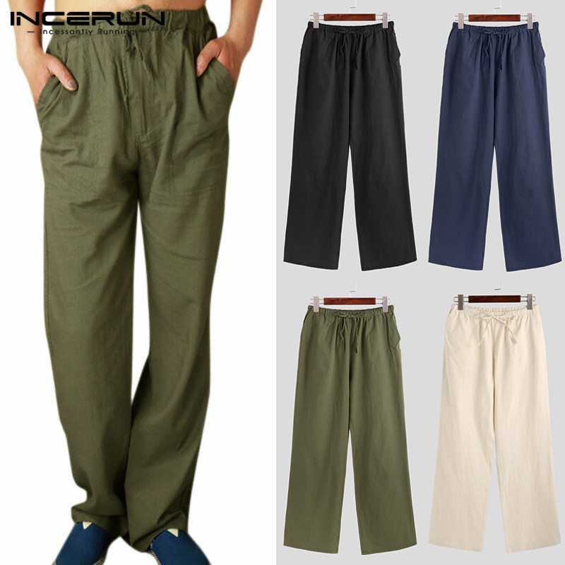 INCERUN Men Casual Literary Lacing Cotton Pants Solid Color Pockets Trousers Mens Straight-leg Plain Joggers Pants 2019 Hombre