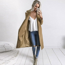 Long Coat Lapel Parka Jacket Autumn Winter Women Casual Solid Cardigan Overcoat Outwear M0826 women winter warm lapel trench parka coat jacket long slim overcoat outwear
