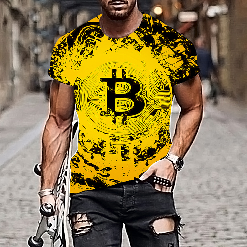 2021 Harajuku Men T-shirt Bitcoin Pattern Style 3D Printing Hip-hop Cool Handsome Plus Size Adult Clothes 5