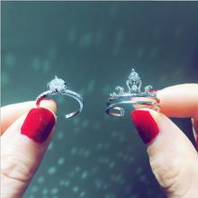 Zircon Ring Plated S925 Silver Crown With Adjustable Opening Fashion Luxurious And Elegant Combination Ring For Women