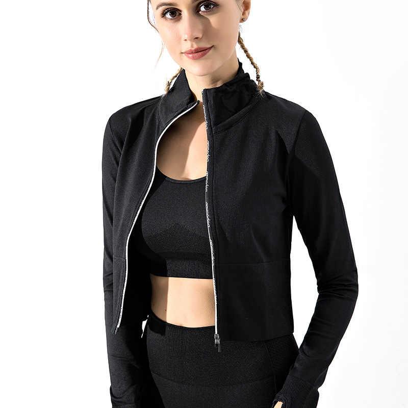 2020 春の新ランニングジャケット女性ショートスリムフィットスタイルのフィットネスコート女性スタンド襟のための印刷文字のスポーツトップ女性
