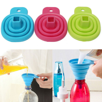 2020 Mini Portable Small Leaking Mouth Foldable Candy Color Silicone Funnel Heat Resistant Collapsible Funnel Dishwasher Safe image