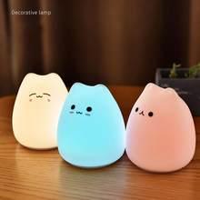 Mini lampe en forme de chat de dessin animé, cadeau de noël, veilleuse en Silicone souple pour enfants, jouets, décoration de chambre à coucher