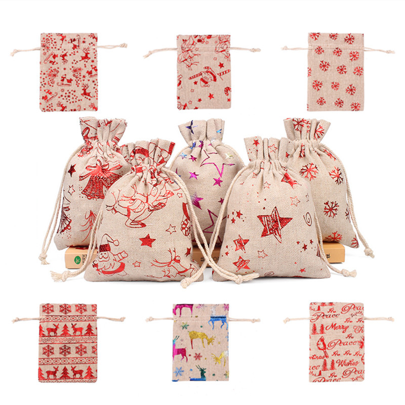 50pcs 10x14 13x18cm Burlap Christmas Gift Bag Jewelry Packaging Bags Wedding Party Decoration Drawable Bags Sachet Pouches 55