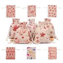50pcs 10x14 13x18cm Burlap Christmas Gift Bag Jewelry Packaging Bags Wedding Party Decoration Drawable Bags Sachet Pouches 55