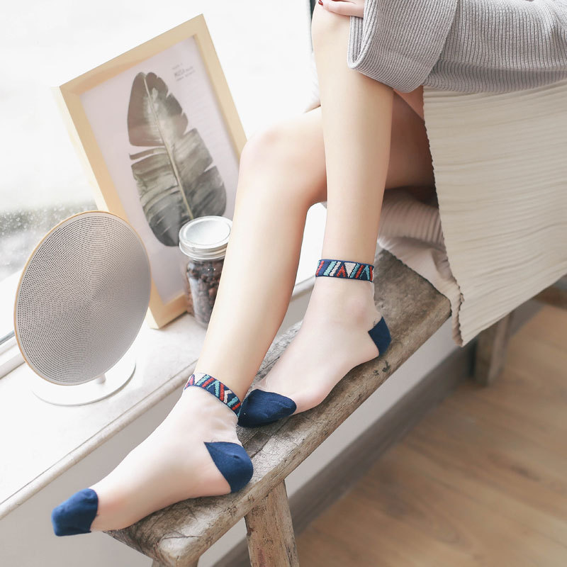Summer Bamboo Female Short Socks Women's Socks Thin Crystal Transparent Silk Socks Girl Ankle Sox