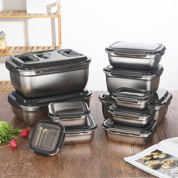 Fridge Food Storage Box and Kitchen Container Set Made with 304 Stainless Steel and Plastic Lid