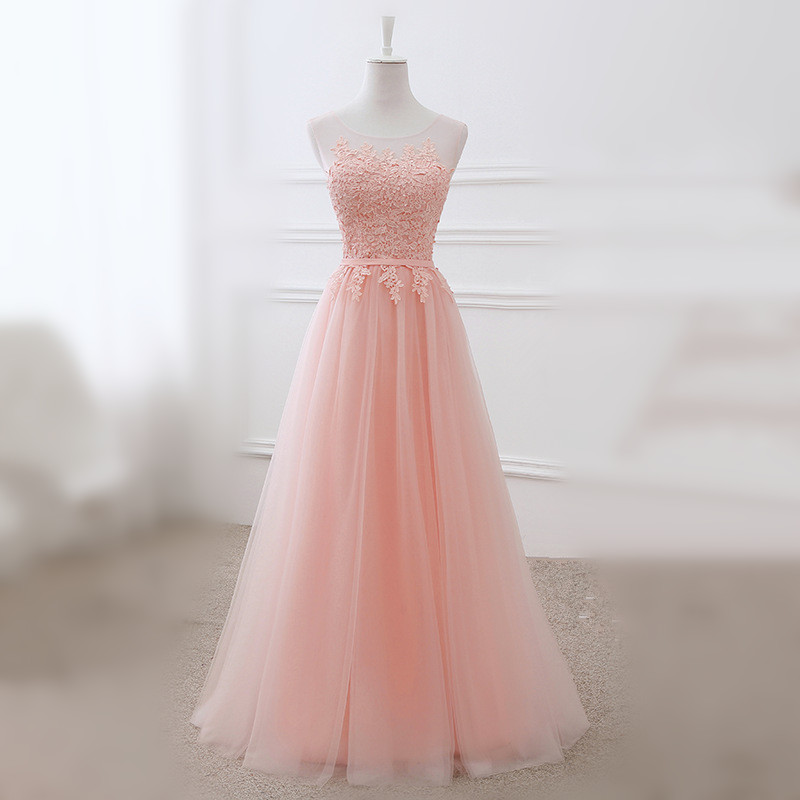 Women's long evening party dress lace up bridesmaid graduation formal prom evening gown plus size A line pink short dress