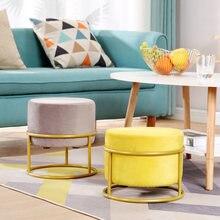 Altura Ajustável! Nordic de luxo sala estar fezes flanela cadeira capa sofá cor sólida pedal redonda fezes pufe otomano