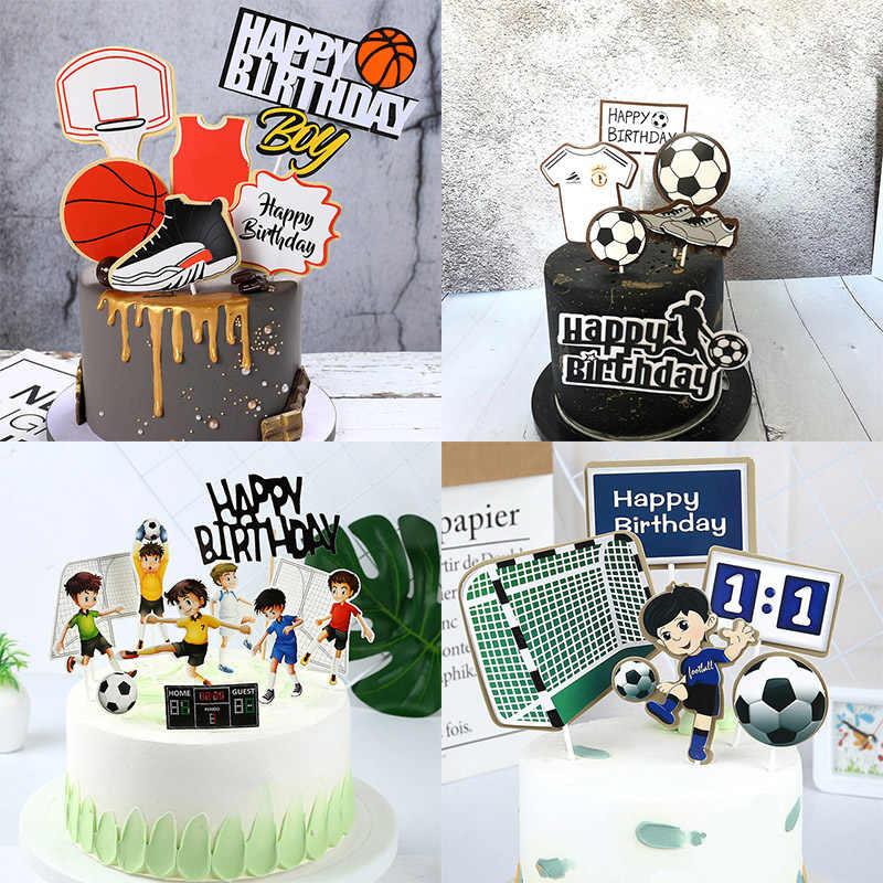 Decoração de bolo para aniversários infantis, decoração de bolo, de basquete, feliz aniversário e esportes