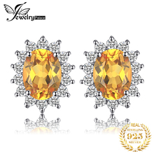 Natural Citrine Gemstone Earrings Stud Genuine 925 Sterling Silver Vintage Charm Gift For Girls 2015 Brand New Jewelry On Sale