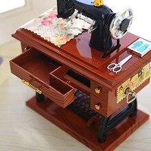 Винтажная музыкальная шкатулка мини швейная машина стиль механический подарок на день рождения Настольный Декор швейная машина Стиль Механическая Музыкальная Коробка