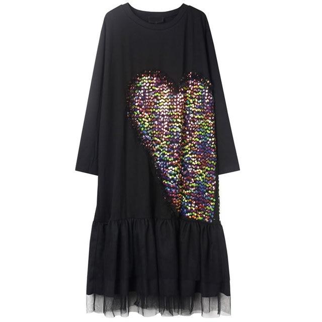 XITAO-robe Patchwork à paillettes en maille pour femmes, robe ample, Style Patchwork, nouveau Style, tempérament, col rond, manches longues, ZP2601, 2020