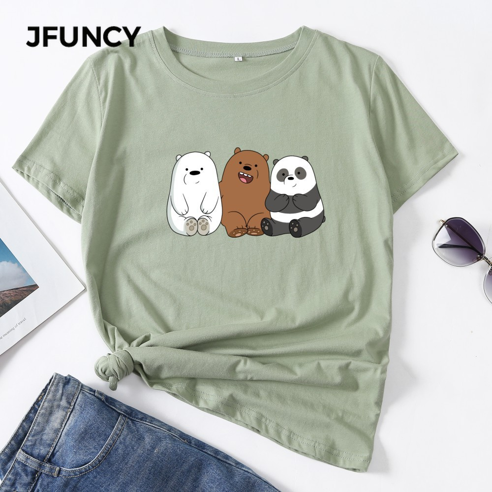 JFUNCY Plus Size S-5XL Summer Women Cotton T-shirt Cute Bear Print Graphic Tee Shirts Short Sleeve Female Tops Lady Pink Tshirt