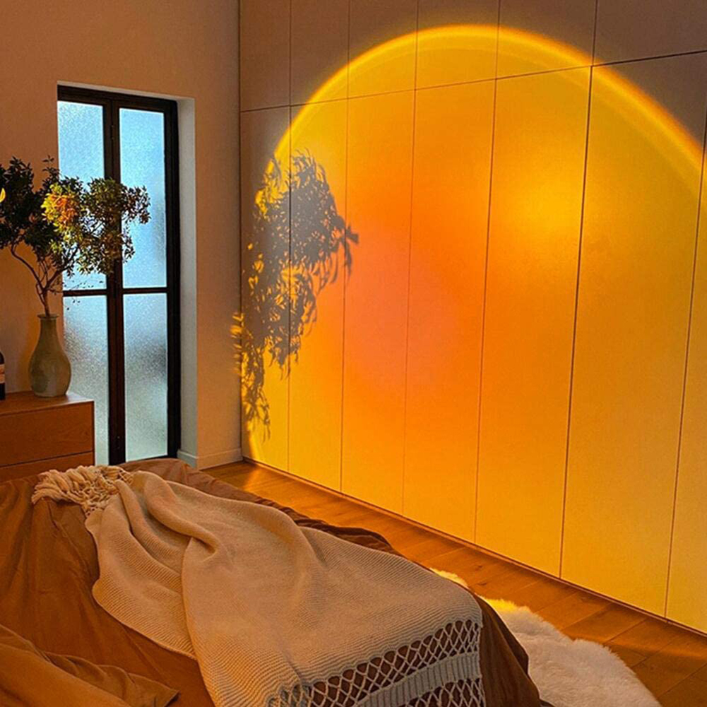 Проектор с радужным закатом, атмосферный ночник, проексветильник льник для кофейни, милая проекционная лампа для детской спальни с ночным з...