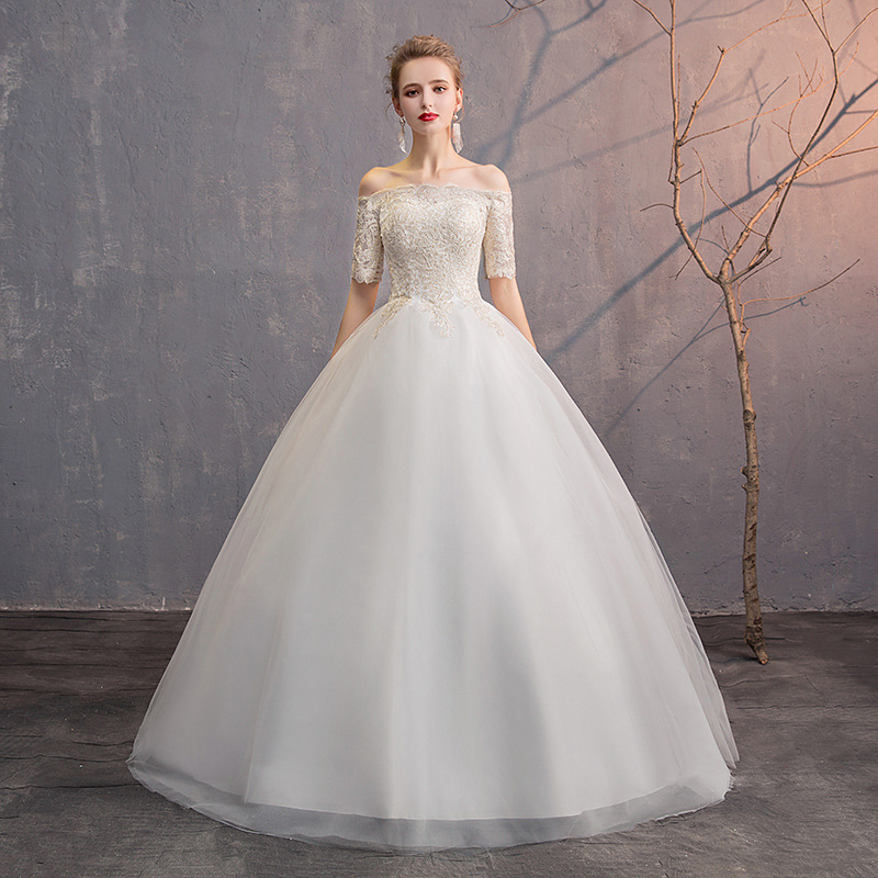 White Simple Wedding Dresses Off The Shoulder Short Sleeve Lace Up Ball Gown Illusion Wedding Gowns For Bride Vestido Novia 2020