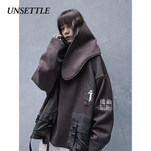 UNSETTLE Japanese Hoodies Men/Women 2019 Hip Hop Casual Streetwear Removable Hooded Sweatshirts Harajuku Male Hoodie oversize