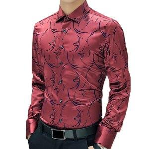 Image 3 - TFETTERS 2020 przyjazd luksusowej marki męskie formalne koszule z długim rękawem kwiatowy koszula męska koszula Tuxdeo koszule designerskie Plus rozmiar 5XL