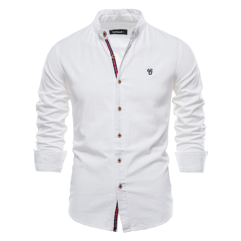 AIOPESON New Spring Cotton Linen Shirt Men Solid Color High Quality Long Sleeve Shirt for Men Spring Casual Social Men's Shirts