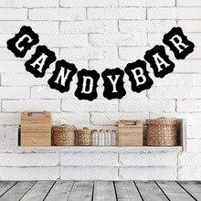Candy Bar banderines carteles caramelo Buffet para Vintage boda Baby Shower fiesta de cumpleaños noche fiesta dulce Decoración de mesa