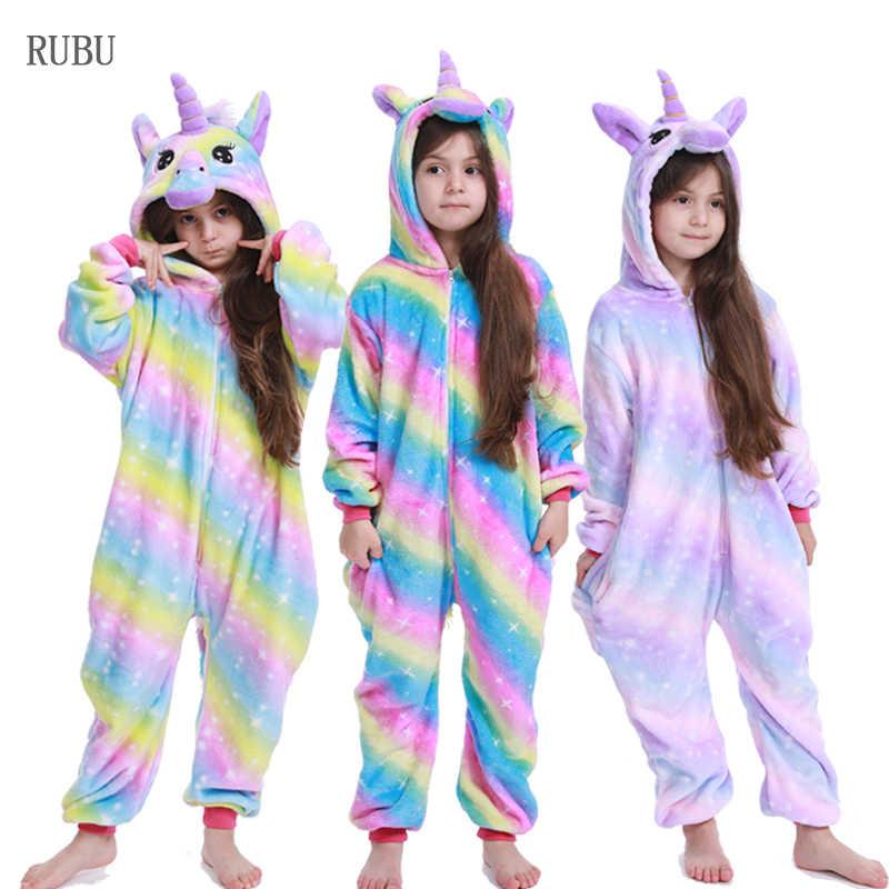 Girls Kids Childs All In One Jumpsuit Unicorn Sleepset Fleece White Pink 2-12