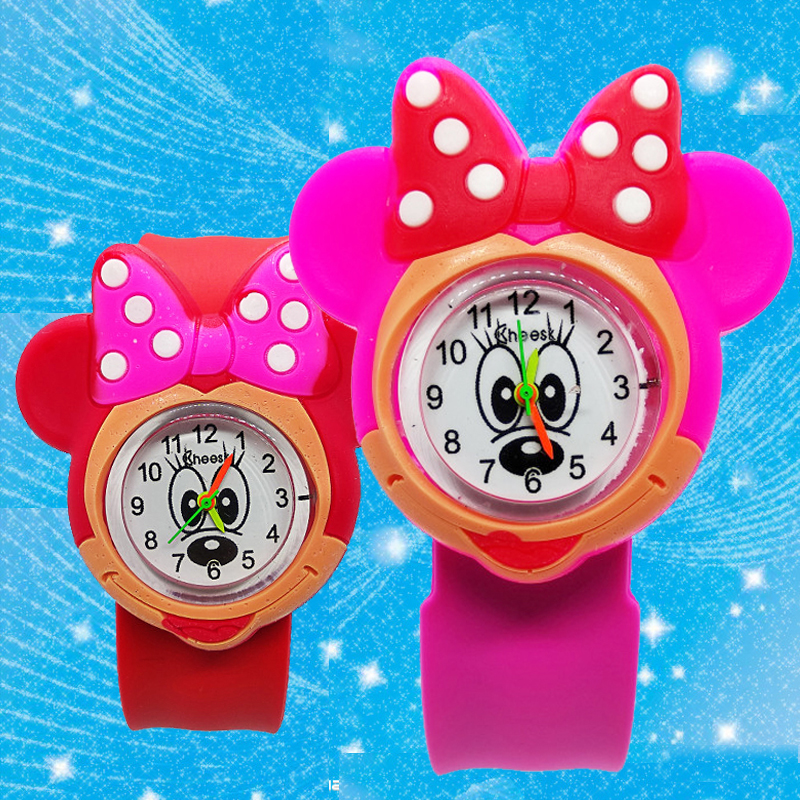 High Quality Children Watch For Girls  Baby Gift 3D Minnie Turtle Pat Flap Wrist Watch Child Sports Students Clock Kids Watches