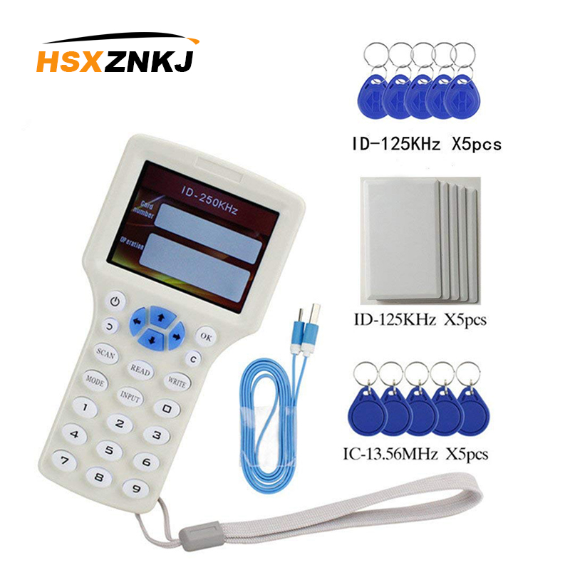 RFID NFC Card Copier Reader Writer Duplicator English 10 Frequency Programmer For IC ID Cards And All 125kHz Cards +5pcs ID 125k