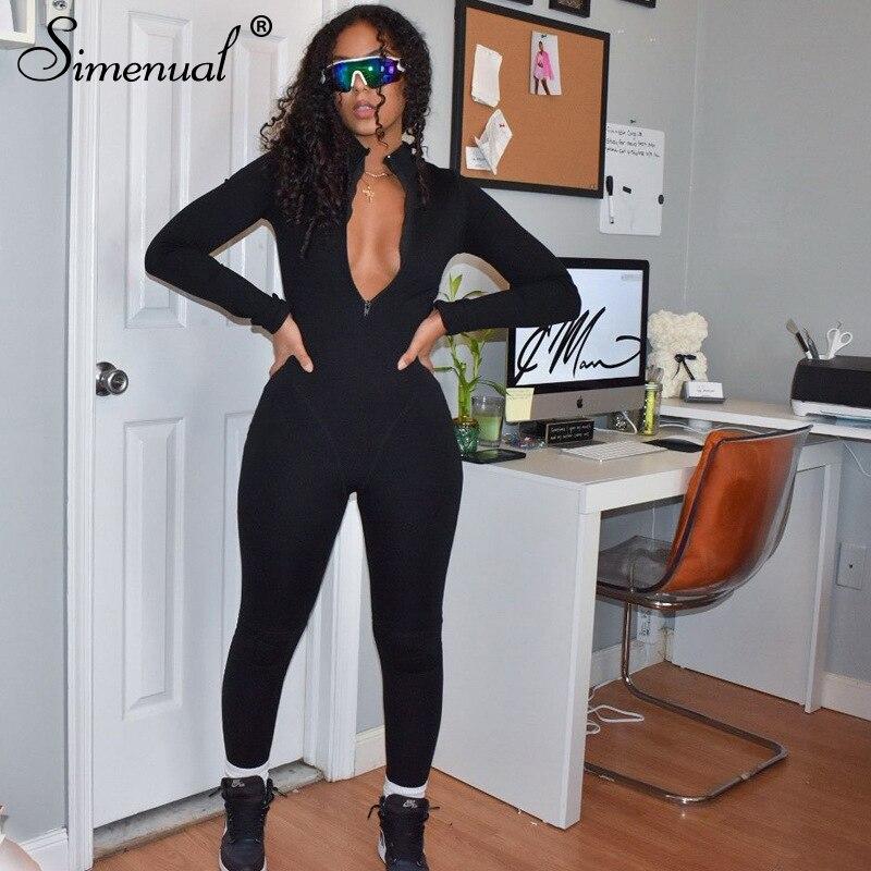 Simenual sportif rahat spor fermuar Rompers bayan tulum uzun kollu Bodycon tek parça egzersiz tulumlar güz 2020 moda
