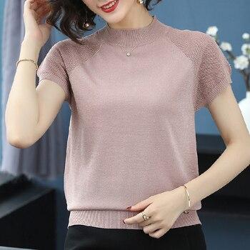 Pink knitted T-shirt womenTops short-sleeved Tshirt Stand collar Tee shirt thin summer Korea T shirt Female knit Femme Blouses & Shirts