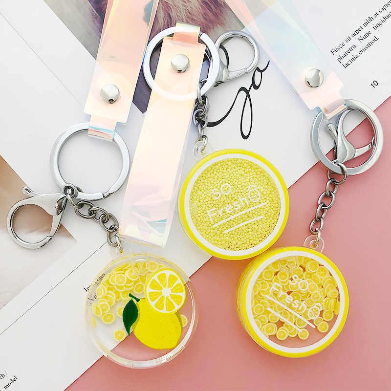 Koreański śliczne ruchome ciecz brelok samochód owoce Quicksand butelka torba z brelokami brelok brelok kobiety ozdoba piękne liny prezenty