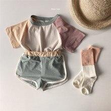 Spot cross-border Korean version of summer boys, girls and children's baby contrast round neck shorts kindergarten sports suit